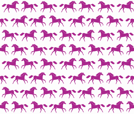 horses // running horses orchid purple girls girly illustration print fabric by andrea_lauren on Spoonflower - custom fabric