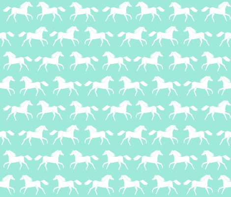 horses // running horses mint and white girly pastel horse illustration for girls room  fabric by andrea_lauren on Spoonflower - custom fabric