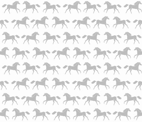 horses // running horses grey slate grey monochrome girls cowgirl illustration fabric by andrea_lauren on Spoonflower - custom fabric