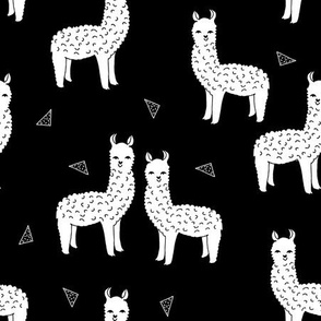 alpaca // white and black nursery kids cute animals