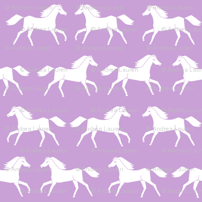 horses // purple pastel girly print horse little girls illustration pattern