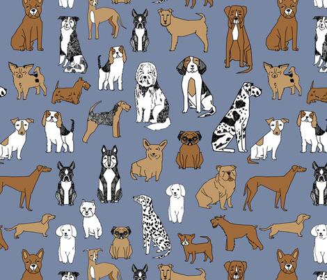 happy dogs // stonewash blue pets fabric pug boston terrier cute pets design fabric by andrea_lauren on Spoonflower - custom fabric