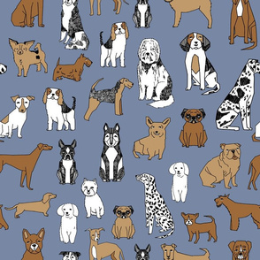 happy dogs // stonewash blue pets fabric pug boston terrier cute pets design