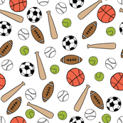 sports // gender neutral hand drawn basketball baseball soccer sports print