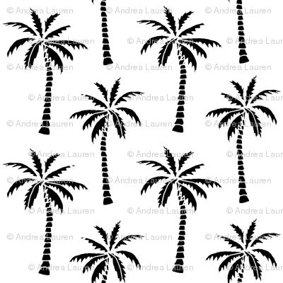 palm tree // black and white kids nursery summer tree palms print