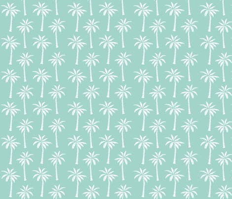 palm tree // mint simple summer tropical palms print trendy print fabric by andrea_lauren on Spoonflower - custom fabric