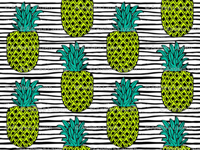 pineapple // summer exotic tropical black and white stripes trendy pineapple fruit