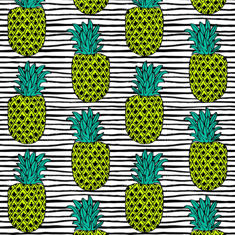 pineapple // summer exotic tropical black and white stripes trendy pineapple fruit fabric by andrea_lauren on Spoonflower - custom fabric