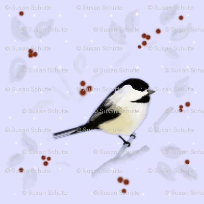 Chickadee and Berries in Winter