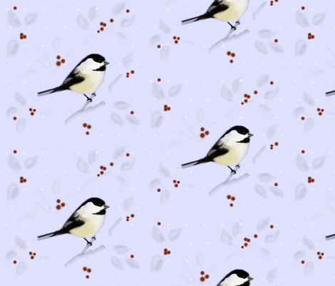 Chickadee and Berries in Winter fabric by susanschutte on Spoonflower - custom fabric