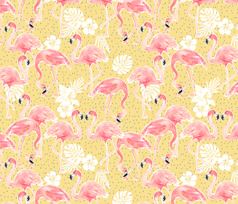 Tropicana Flamingo (gold) REGULAR fabric by nouveau_bohemian on Spoonflower - custom fabric