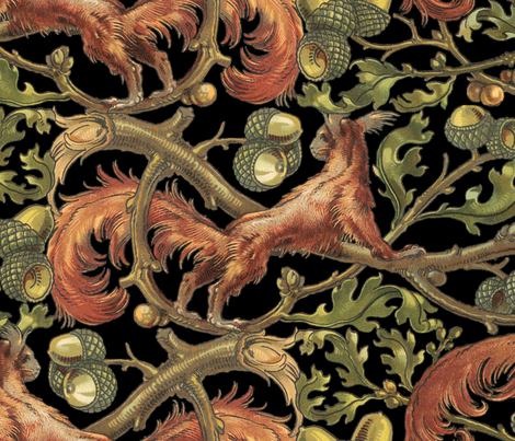 Squirrels In Branches ~ Black  fabric by peacoquettedesigns on Spoonflower - custom fabric