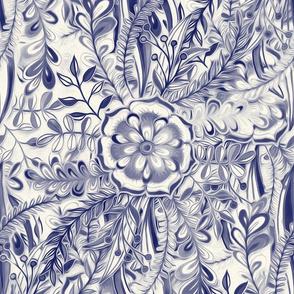 Boho Flower Burst in Indigo Navy Blue and Cream