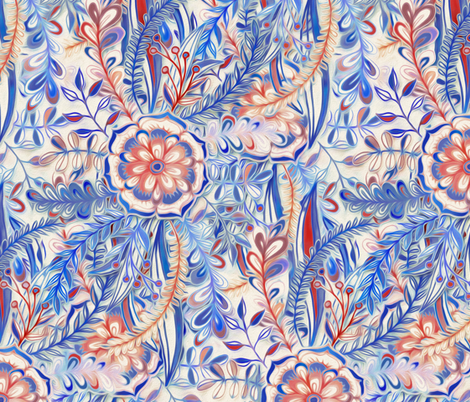 Boho Flower Burst in Red and Blue fabric by micklyn on Spoonflower - custom fabric