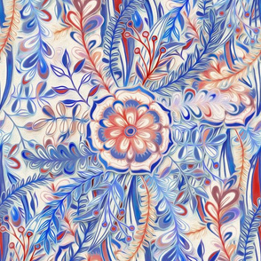 Boho Flower Burst in Red and Blue