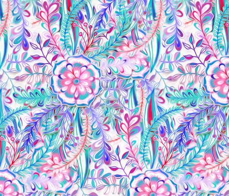 Boho Flower Burst in Pink, Teal and Blue fabric by micklyn on Spoonflower - custom fabric