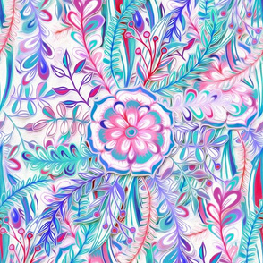 Boho Flower Burst in Pink, Teal and Blue