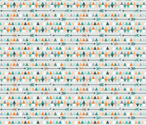 Arrows & triangles in teal fabric by heleenvanbuul on Spoonflower - custom fabric