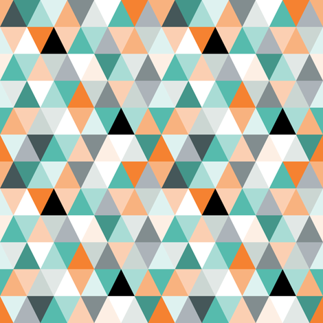 Triangles in teal fabric by heleenvanbuul on Spoonflower - custom fabric