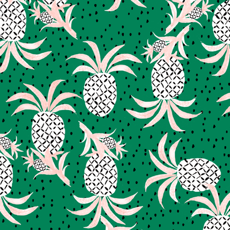 Tropicana Pineapple (emerald) fabric by nouveau_bohemian on Spoonflower - custom fabric