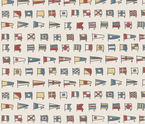 Nautical Signal Flags - Vintage Colorway fabric by funnyfacecreative on Spoonflower - custom fabric
