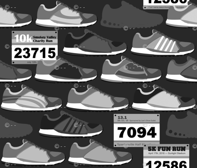 Running Shoes & Race Bibs - Grayscale