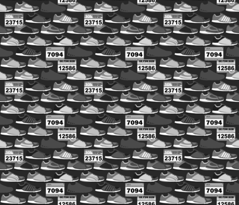 Running Shoes & Race Bibs - Grayscale fabric by run_quiltgirl_run on Spoonflower - custom fabric