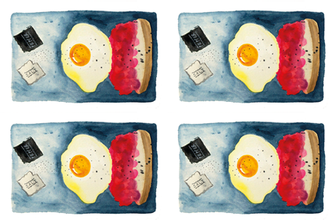 Breakfast for One Tea Towel - Fried egg on jam and toast fabric by aratidevasher on Spoonflower - custom fabric