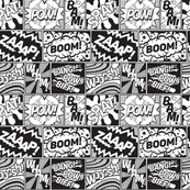 Modern Comic Book Superhero Pattern Black White Large