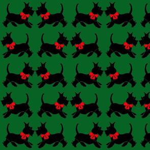 Scotties on green - Christmas gift wrap