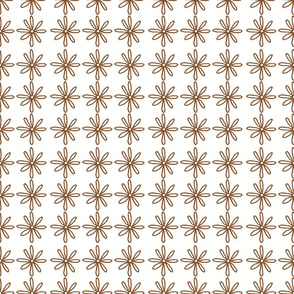 Brown/White Scribble Daisy pattern