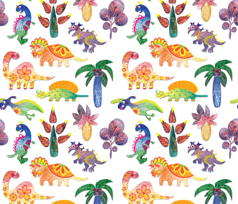Dinosaurs Pattern White Background fabric by nellik on Spoonflower - custom fabric