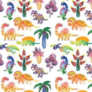 Dinosaurs Pattern White Background