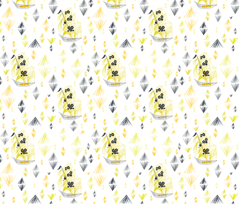 Wooden Ships Citron Dream fabric by alchemiedesign on Spoonflower - custom fabric