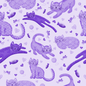 Purple Playful Kittens