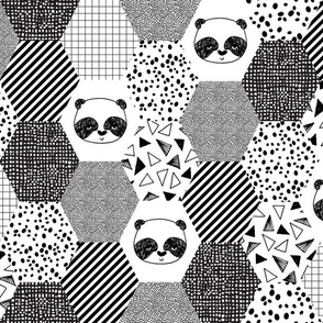 panda hexagon quilt // black and white hexagon cheater quilt for trendy black and white baby nursery