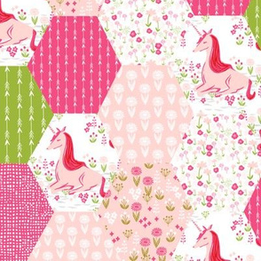 Unicorn Hexagon Quilt // cute hexagon pastel spring girly pink and green flower florals