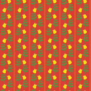 Vertical Retro Yellow Tulips on Red