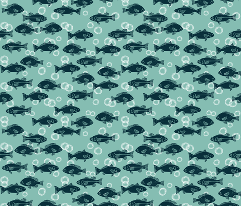 ocean fish // deep sea fishing sea life nautical mint baby fabric by andrea_lauren on Spoonflower - custom fabric