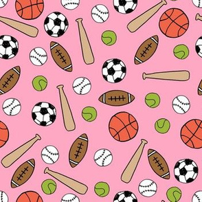 sports fabric // pink baseball basketball team playground school game