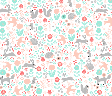 spring // woodland hedgehog fox bird flow kids flowers garden birds baby nursery girly pastels fabric by andrea_lauren on Spoonflower - custom fabric