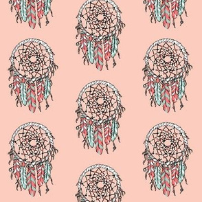 dreamcatcher // pink girly southwest cute feathers mint and coral