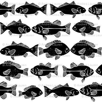 ocean fish // nautical black and white minimal fish print