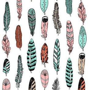 feathers // gender neutral kids feather and arrows hand drawn print