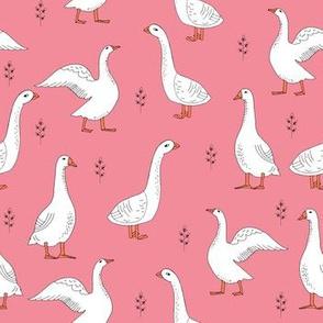 geese // goose hand drawn farm animal pink pastel