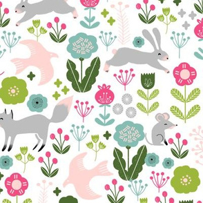woodland spring // pink and green kids nursery baby girl flowers fox rabbits