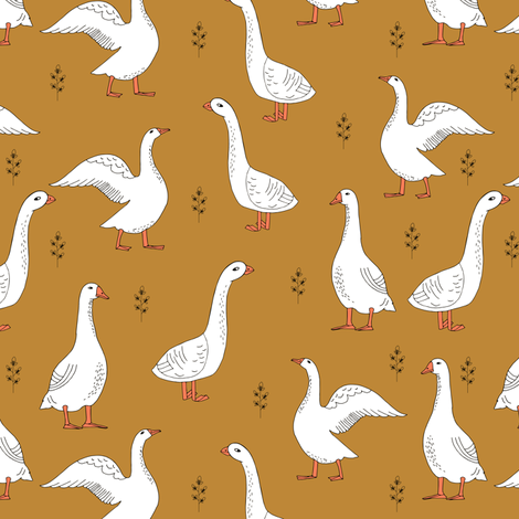 Geese goose hand drawn children kids print fabric for Children of the world fabric