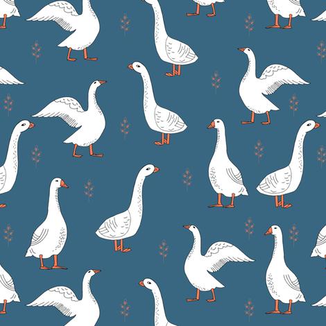 geese // farm anima bird nature kids geometric fabric by andrea_lauren on Spoonflower - custom fabric