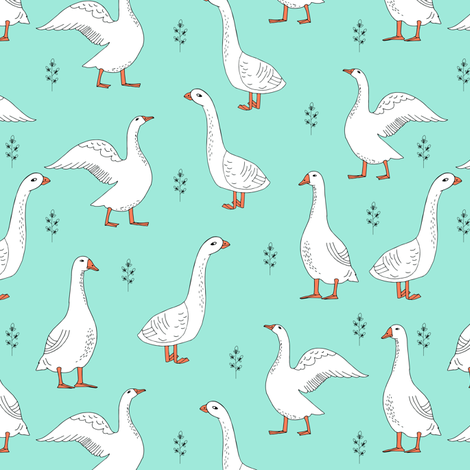 Geese hand drawn farm animal bird print gender neutral for Children s animal print fabric