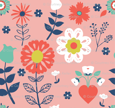 Folk Floral = Pinks